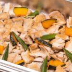 鶏肉と季節野菜のロースト 照り焼きソースがけ